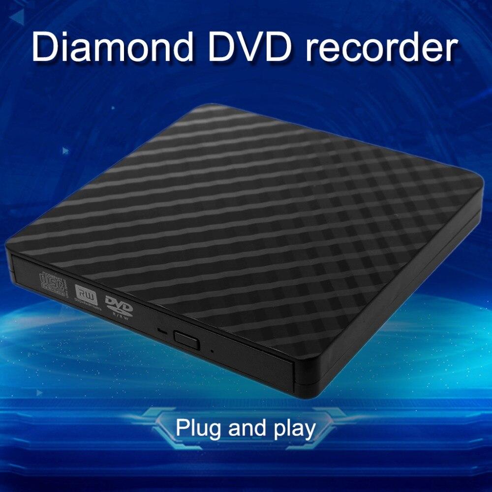 Ultra-mince Externe USB 3.0 CD DVD Rom Écrivain Graveur Graveur Lecteur Données Transmission 5 Gbps pour Macbook Ordinateur Portable PC