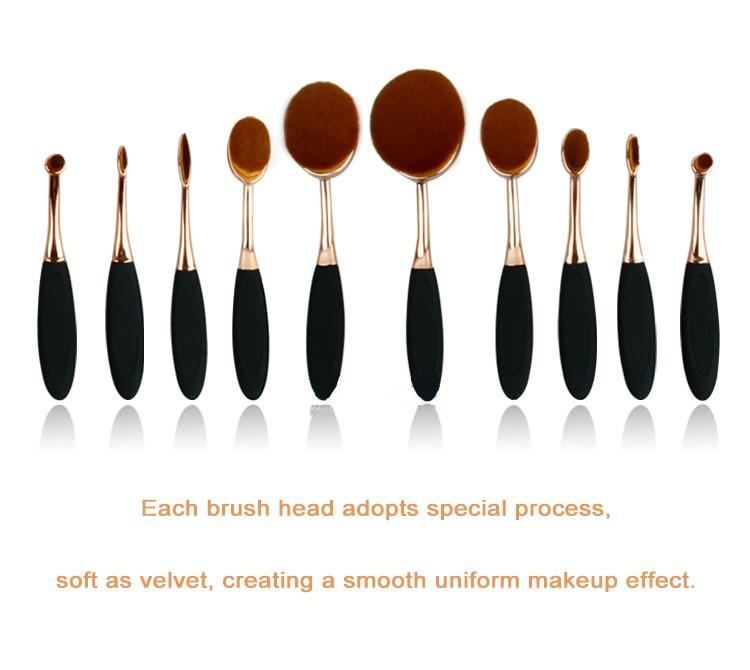 Toothbrush NEW Oval Shape Powder Foundation Makeup Brush Brushes Make up Eyebrow Beauty Tools Black Gold 10PCSset (2)