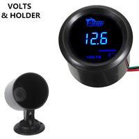 2 52mm Voltmeter Clocks Black Cover Car Accessories Universal Digital Blue LED Volt Voltage Gauge Holder