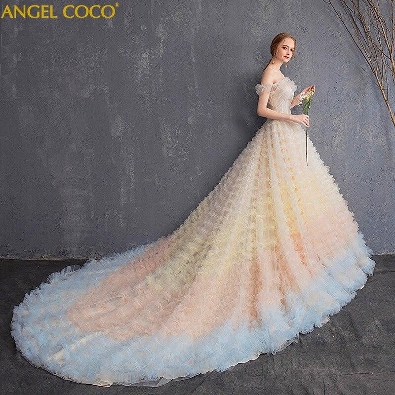Великолепное свадебное платье для беременных Плюс Размер кружевное градиентное облако роскошное свадебное платье Vestidos De Noivas Robe De Mariage