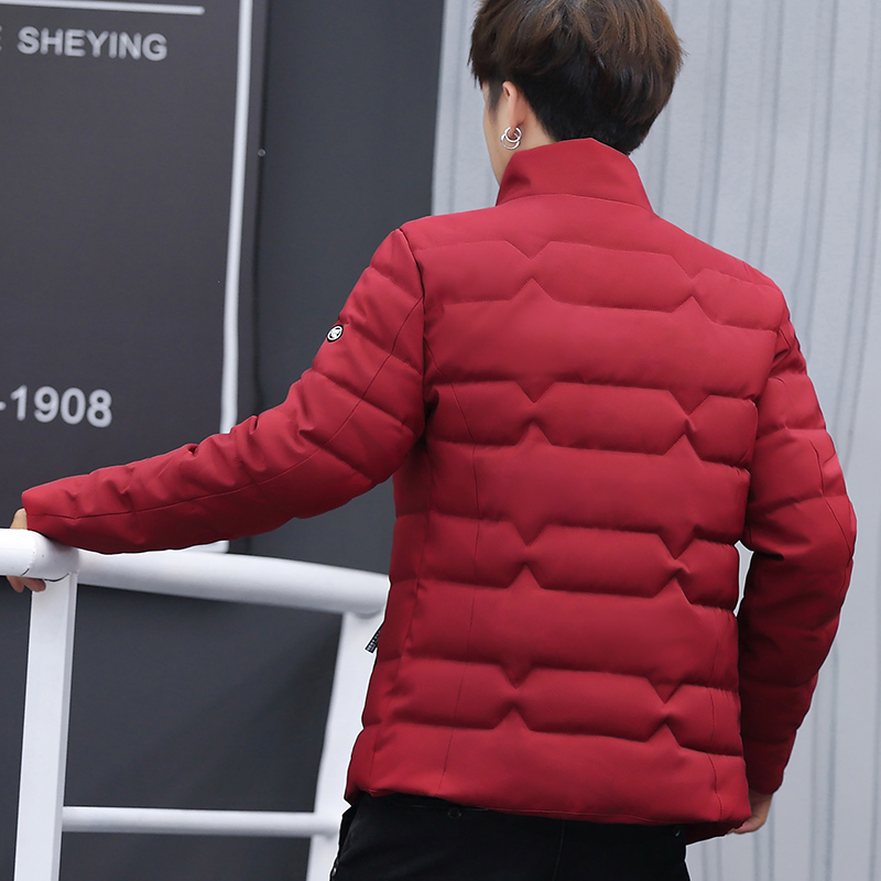 Image 5 - Зимняя куртка, Мужская хлопковая одежда, модная мужская зимняя теплая приталенная куртка пуховик, мужская куртка на молнии, однотонное пальто-in Парки from Мужская одежда