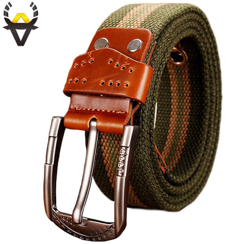 Mode Armée Tactique Toile Ceintures pour hommes Haute Qualité Militaire Pin Boucle homme ceinture pour Causalité jeans Large sangle mâle bon prix