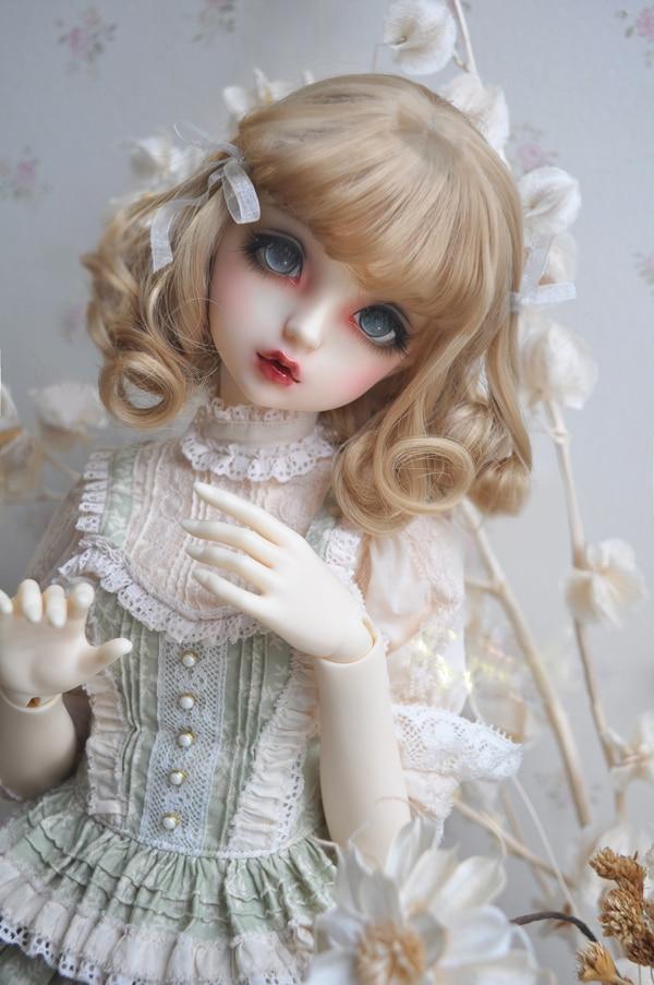 BJD SD Doll Flaxen Brown High-temperature Wire Hair Wigs 1/3 1/4 1/6 BJD European Style Ribbon Short Curly Hair