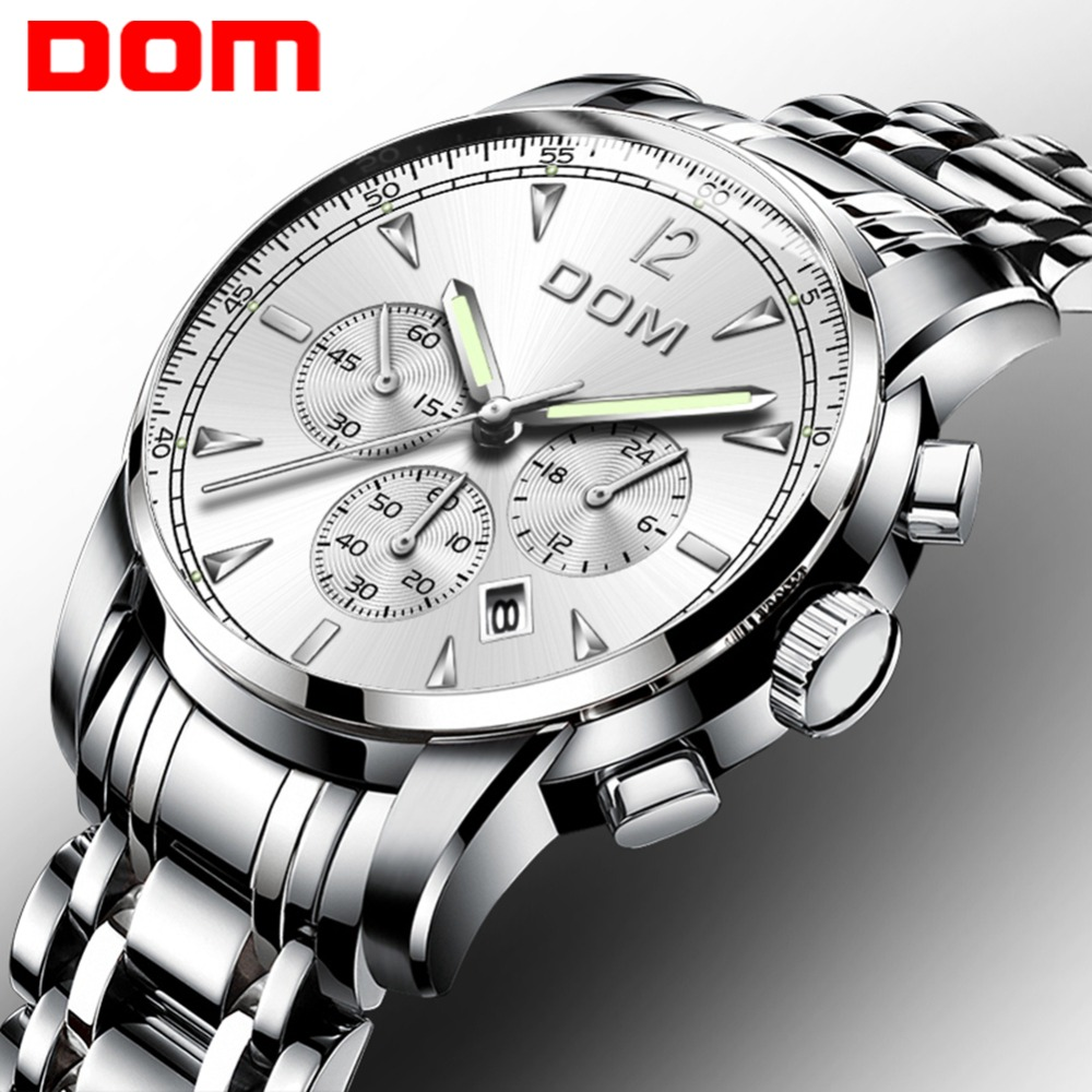 DOM Man Watches Luxury Brand Quartz Wristwatch  Men Business Watch Waterproof Steel Strap Watches Men's Watch Relogio M-75D-7MPE