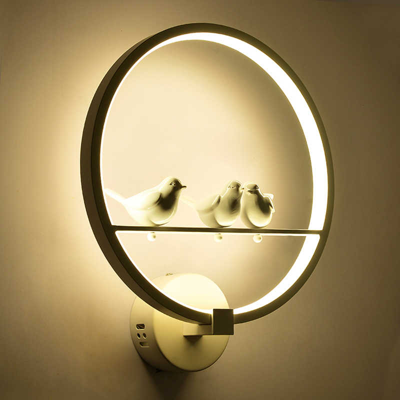 Bird/Couple&Aluminum ring led wall lamps modern living room aisle background cafe bedside bedroom wall light Dimmable AC85-265V