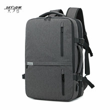 Купить с кэшбэком 2018 USB Bags Laptop Backpack 17 19 in Men Casual Waterproof Business 20-35L 8827 Large Capacity Bag Male Gray Black Travel Bags