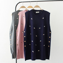 Big size spring vest sleeveless sweaters 2018 new pink gray dark blue honey Embroidered knitted wool female top wear Pullovers