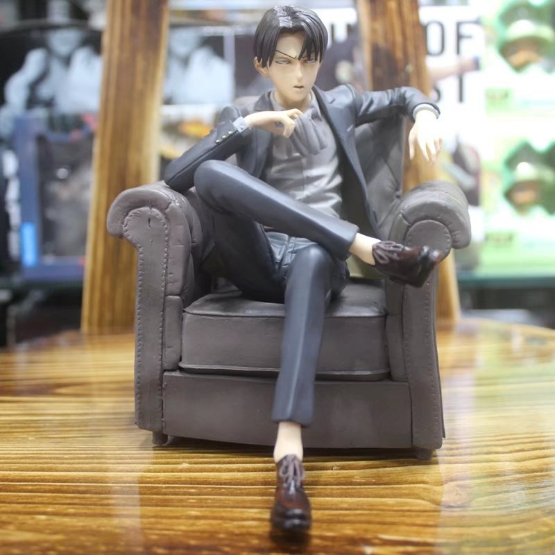 Anime Attack on Titan Character Levi Ackerman Heichov with Sofa Sitting Version Action Figure Model Toys