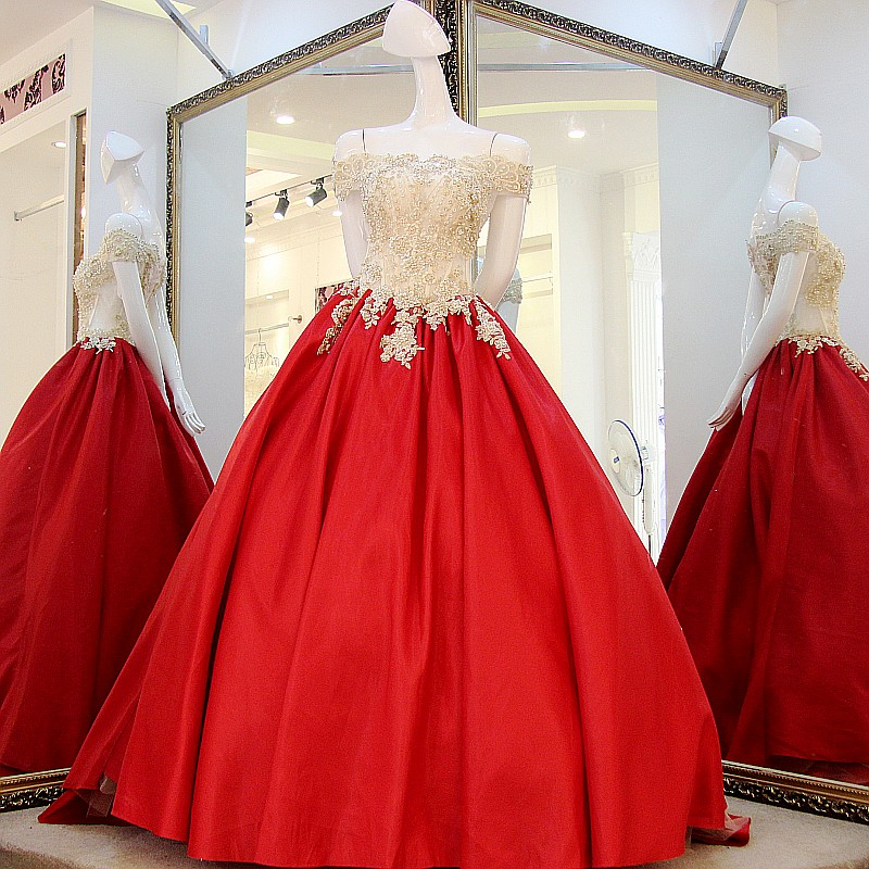 Elegant Gold Appliques Hot Red Wedding Dress Cap Sleeve Ball Gown ...
