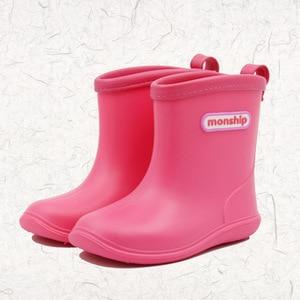 Image 4 - Çocuklar çocuk kauçuk yağmur çizmeleri kız erkek çocuk ayak bileği Rainboots su geçirmez ayakkabı yuvarlak ayak su ayakkabısı yumuşak kauçuk ayakkabı