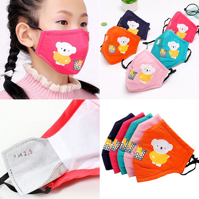 Cartoon Children PM2.5 Mouth Mask Kids Activated Carbon Breathable Mask Anti Dust Mouth-muffle Respirator Cotton Face Masks 1