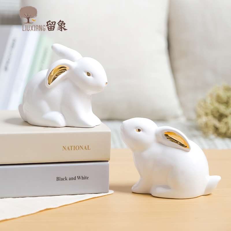 LX Ceramic Rabbit Figurine Animal Statue Home Furnishing Decor Birthday Present Office Desk Decoration Ornament Home Decor
