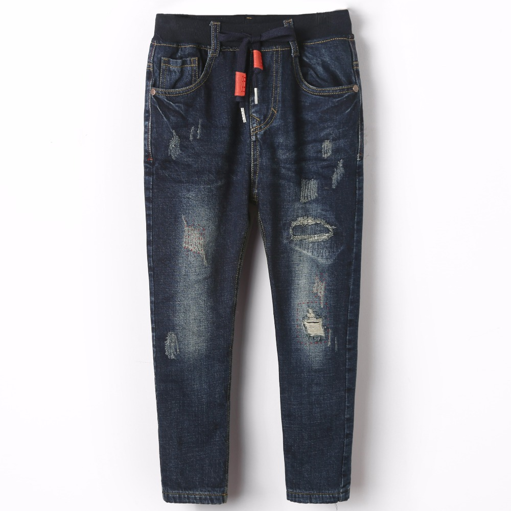 Boy Winter Autumn Warm Casual Pencil Pants Ripped Jeans Denim Blue Straight Zipper Fly Trousers For Children Kid Elastic Waist denim overalls male suspenders front pockets men s ripped jeans casual hole blue bib jeans boyfriend jeans jumpsuit or04