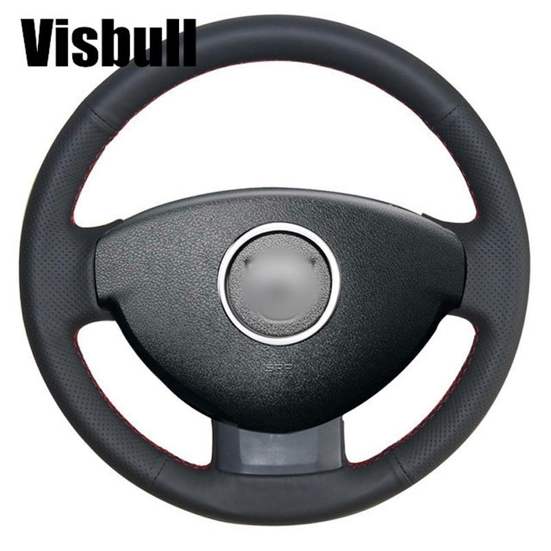 Visbull Black PU Leather Car Steering Wheel Cover V1077 for Renault Duster Dacia Duster