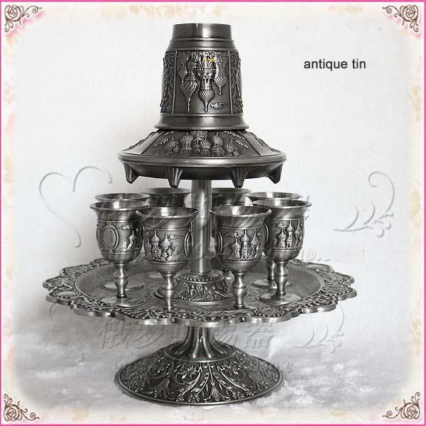 Rare 12 Pcs/ensemble antique étain et de zinc alliage verres métal vin decanter set boissons ware vaisselle ensemble vin tasse 328C