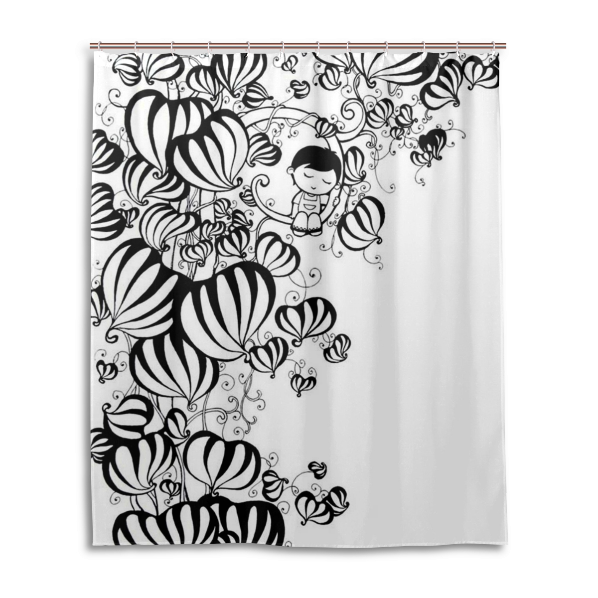 diy 60x72 inch 152x182cm stall shower curtain with plastic hooks