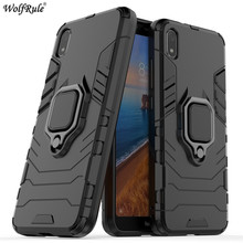 цена на For Xiaomi Redmi 7A Case Redmi 6 Phone Bumper Finger Ring Holder Armor Anti-Knock Hard Back Phone Case For Xiaomi Redmi 7A Cover