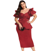 купить 2019 Plus Size Women Sweatheart Neck Short Sleeve Party Dress Twisted Peplum Dress Ladies Formal Dress по цене 1883.59 рублей