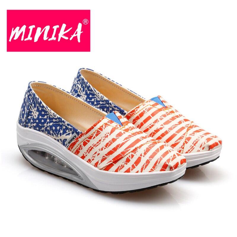 MINIKA 2017 Nueva Mezcla de Colores Rayas Mujeres Agitar Zapatos de - Zapatos de mujer - foto 5