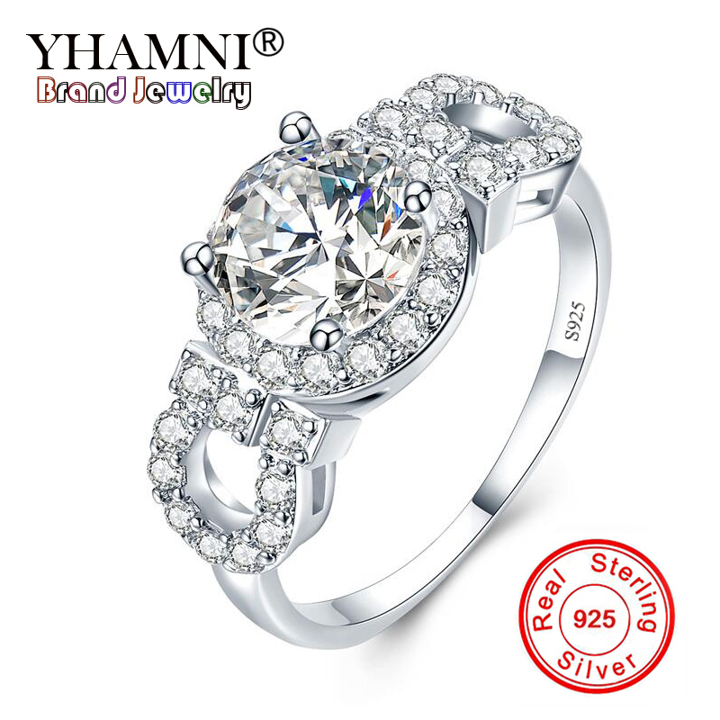 YHAMNI 100% Solid 925 Sterling Silver 2 Carat Cubic