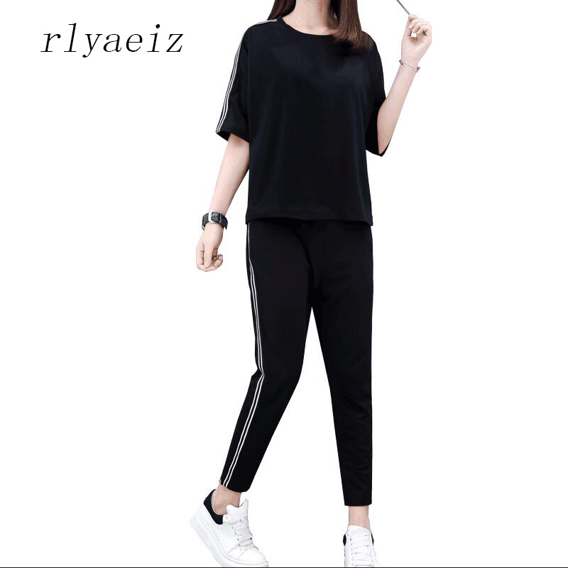 Rlyaeiz 2018 Summer New 2 Piece Set Women Sporting Suit Fashion Casual Striped T shirts  ...