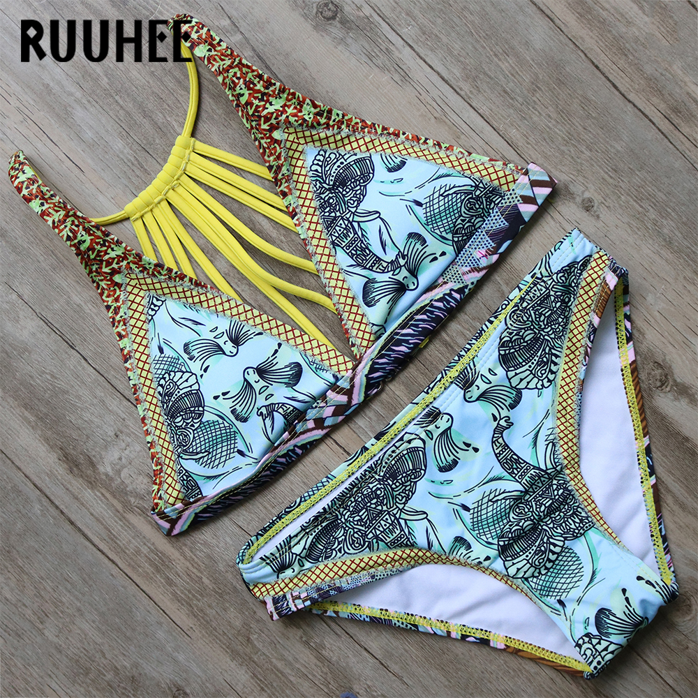 RUUHEE Bikini Swimwear Swimsuit Women 2017 Bikini Set Biquini Push up Bandage Bathing Suit Maillot De Bain Beach Femme Swim Suit ruuhee hot sexy bikini beach swimwear women bandage swimsuit bathing suit bikini set push up printing female swim wear
