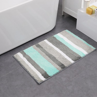 Stripe Microfiber Doormat Area Rug Bathroom Kitchen Non Slip Small Carpet Door Floor Mat Striped Modern