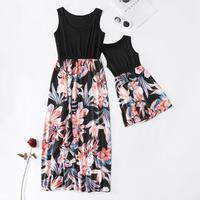 Платье-майка с цветочным рисунком для мамы и дочки одежда для мамы и меня одинаковые комплекты для семьи платье без рукавов с высокой талией...