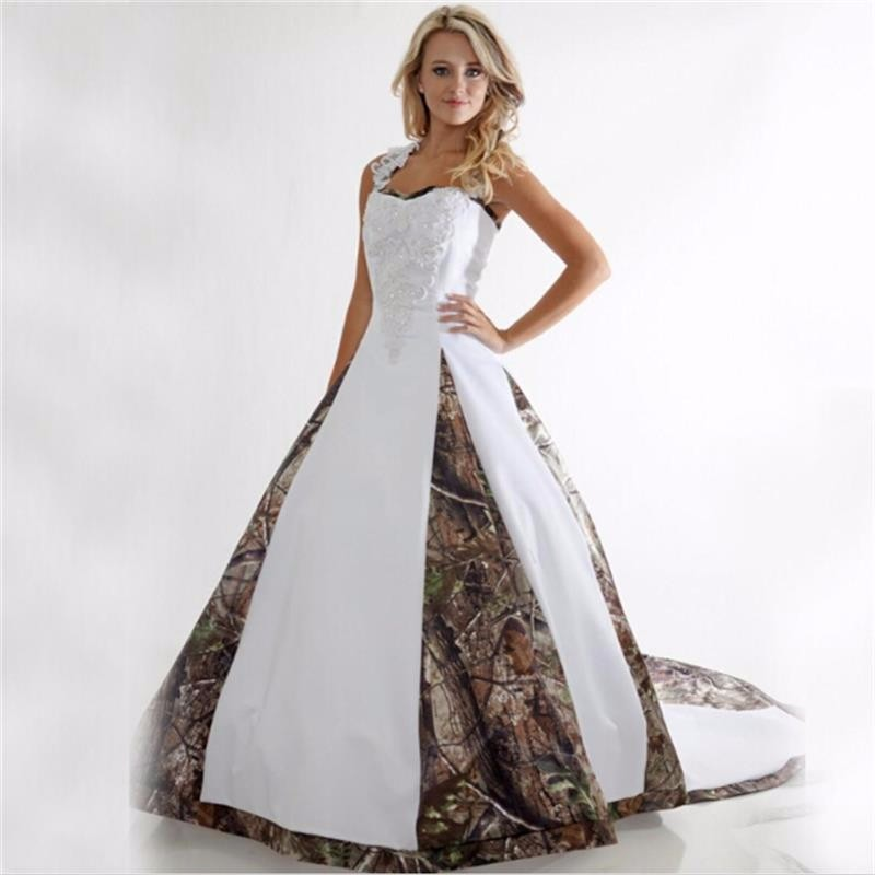 Camouflage Wedding Gowns: Vestido Novia Camo Wedding Dress Lace White Camouflage