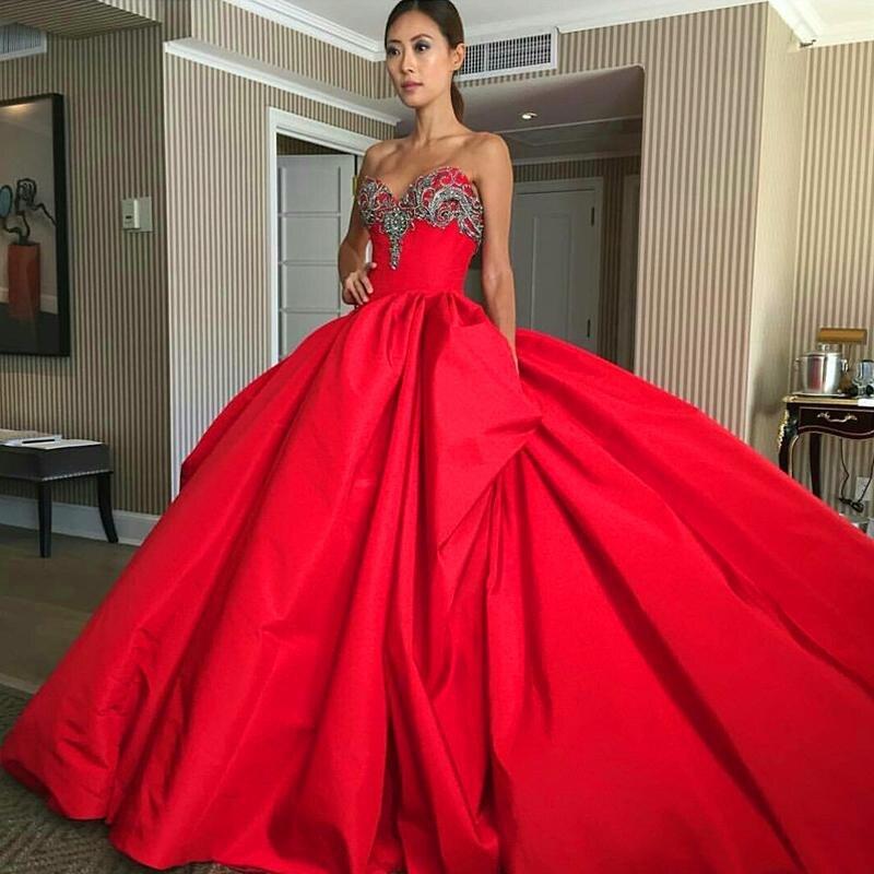 Elegant Evening Dresses Sweetheart Floor Length Satin Crystal Ball ...