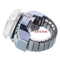 Творческий для женщин леди сталь круглый циферблат эластичное кольцо на палец кварцевые часы девушка подарок