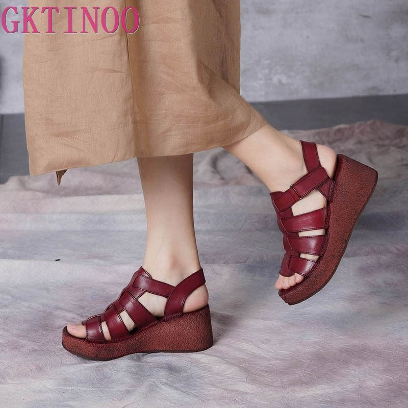 GKTINOO Original Summer New Wedges Heels Thick Sole Platform Women Shoes Genuine Leather Buckle Retro Casual Handmade SandalsGKTINOO Original Summer New Wedges Heels Thick Sole Platform Women Shoes Genuine Leather Buckle Retro Casual Handmade Sandals