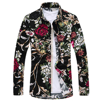 Flower Mens Shirts 2019 Brand Designer Casual Long Sleeve Cotton Slim Fit Floral Shirt Men 7XL 6XL Black Chemise Homme Clothes