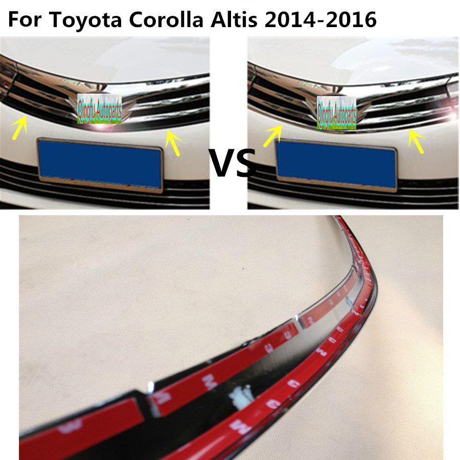 For Toyota Corolla Altis 2014 2015 2016 Car body styling cover detector ABS chrome trim Front up Grid Grill Grille hoods 1pcs car body cover abs chrome lamp trim head front bottom grid grill grille modling strip frame 1pcs for toyota rav4 2014 2015 2016
