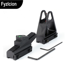 Adjustable Quick detachable  Fiber Optic Open Front Rear Sights for Dovetail 3/8 Inch 11mm Rail dovetail Mount Airgun Sight set