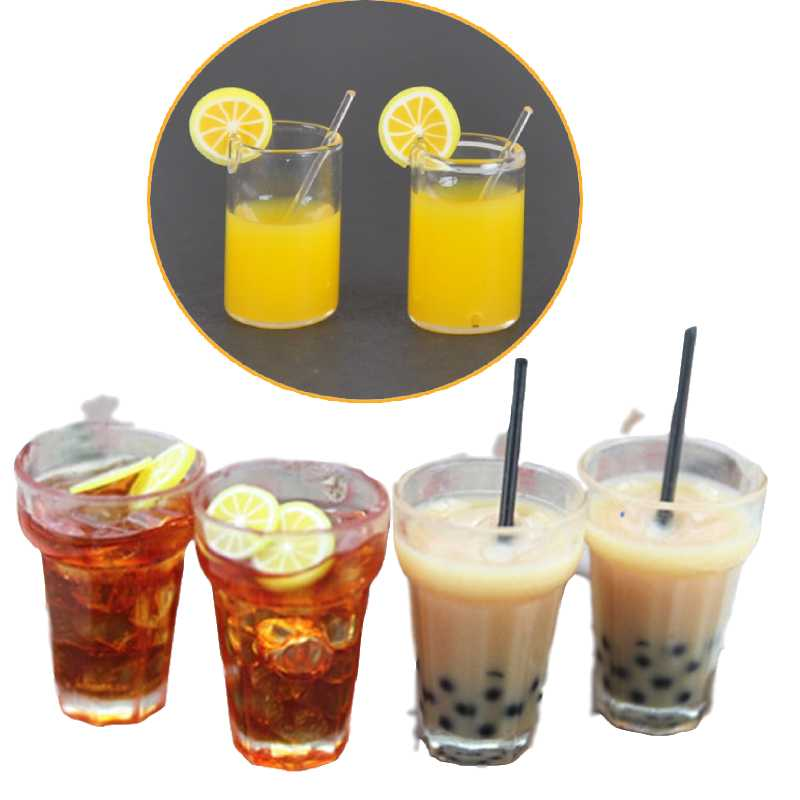 1:12 Resin Dollhouse Mini Lemon Milk Tea Water Cup Miniature Dollhouse Accessories Cups Toy Mini Decoration Gifts(China)
