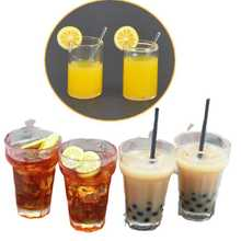 1:12 Resin Dollhouse Mini Lemon Milk Tea Water Cup Miniature Dollhouse Accessories Cups Toy Mini Decoration Gifts