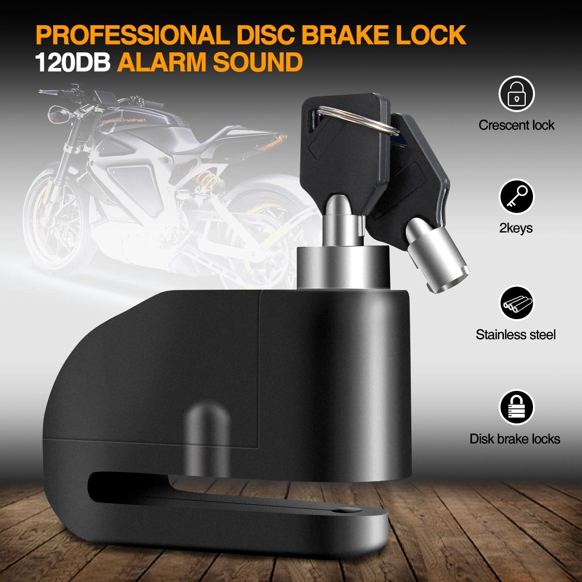 Nuevo 7mm motocicleta robusta rueda disco bloqueo seguridad antirrobo alarma
