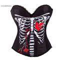 Charmian Evil Skull Black Overbust Halloween Corset Fashion Rock N Roll Costume for Women Carnival Party Bustier