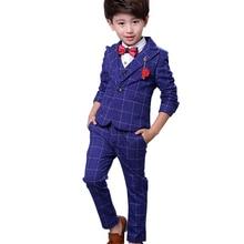 2019 NEW 3pieces Boys Suits for Weddings Cotton Plaid Blazer+Vest+Pants Kids Clothing Sets Spring Autumn Clothes