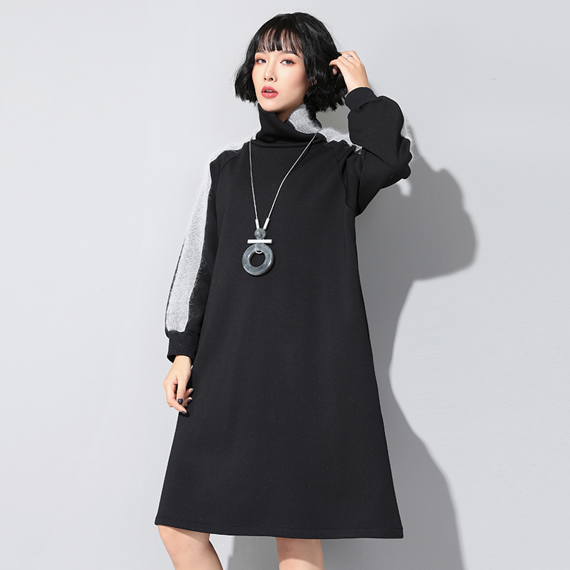 Make new winter wear outside Europe United States women's dress render spelling rabbit hair half turtle neck long s(China)