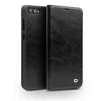 QIALINO Genuine Leather Case for Huawei Honor V10 Handmade Wallet Flip Bag Cover for Honor V10 Luxury Ultra Slim Flip Case