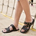 men sandal leather flip-flop slippers pvc fashion 2016 summer beach breathable rivets casual outdoor comfort sandals