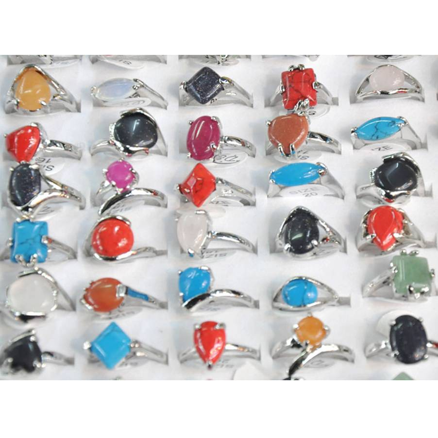 Wholesale 10Pcs Mixed Natural Stone Ring Silver Color Vintage Tibetan Rings Jewelry Hot Selling For Woman 16-20