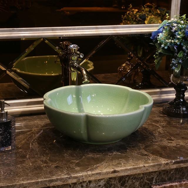 Beau Green Crackle Glaze Europe Style Chinese Washbasin Sink Jingdezhen Art  Counter Top Ceramic Bathroom Sink Wash