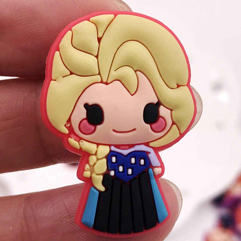 7 ピースかわいい漫画プリンセスマーメイドエルザアンナ PVC ピンバッジブローチ子供襟スカーフ針バックパック服帽子の装飾
