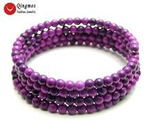 Женский модный браслет qingmos из sugilite круглый фиолетовый