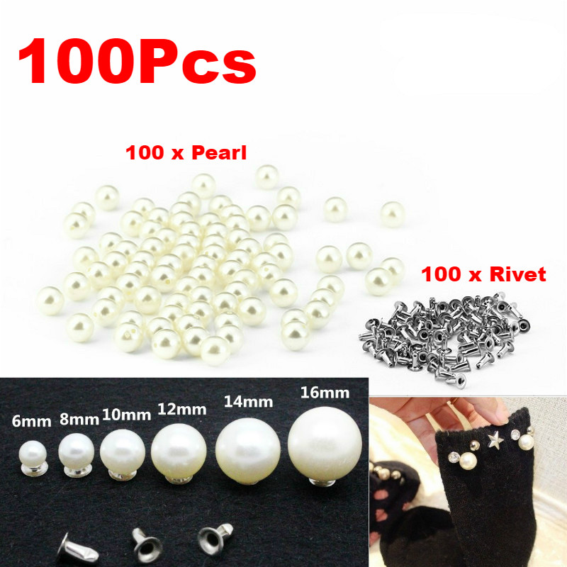 100 Pcs Ivory Pearls 8mm with Rivets for Leather Bag Clothes Crafts Decor