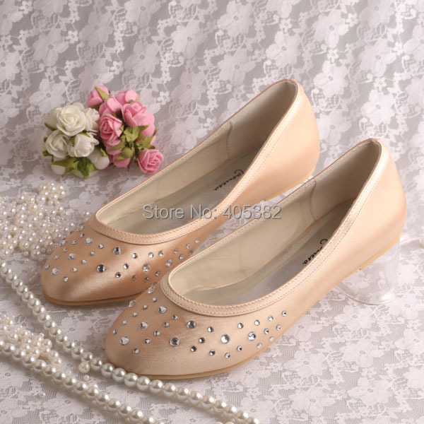 Wedopus Champagne Satin Rhinestone Women Ballet Bridal Wedding Shoes Size In S Flats From On Aliexpress Alibaba Group
