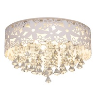 Современные светодиодный Кристалл Гостиная потолочный светильник романтическая белый цветок выдалбливают Спальня потолочный светильник
